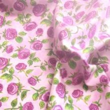 100% Cotton Purple and Pink Rose Print Fabric x 0.5m